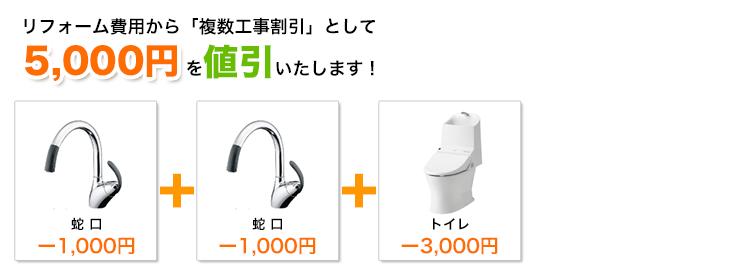 蛇口と蛇口と給湯器の工事割引額イメージ