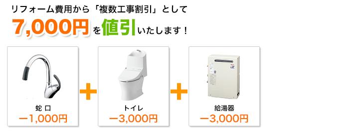 蛇口とトイレと給湯器の工事割引額イメージ