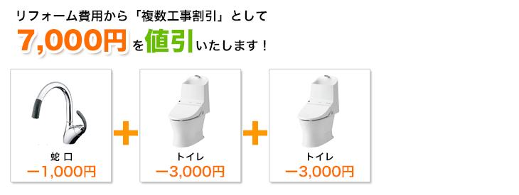 蛇口とトイレとトイレの工事割引額イメージ