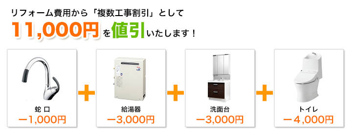 蛇口と給湯器と洗面台とトイレの工事割引額イメージ
